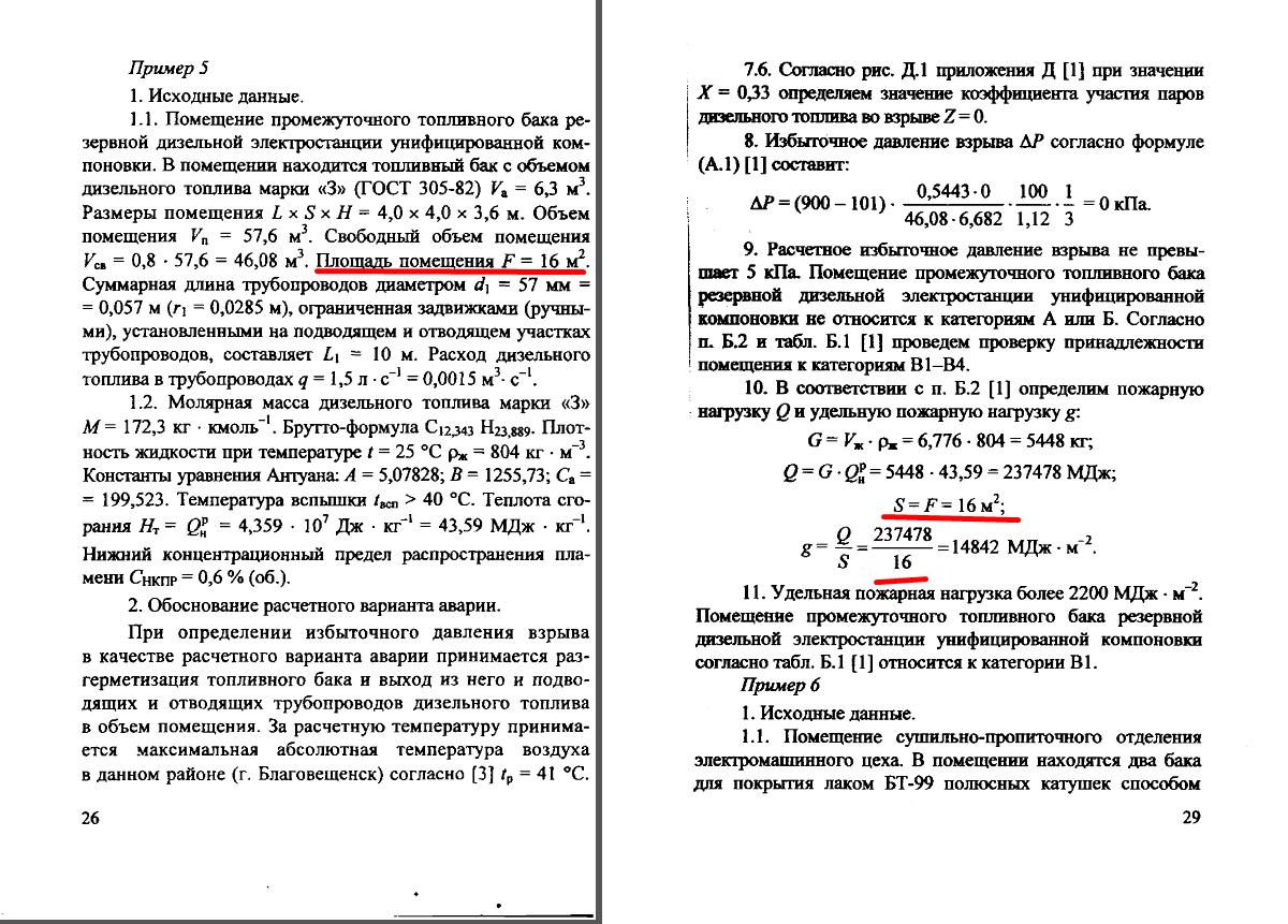 определение площади размещения пожарной нагрузки (жидкость)